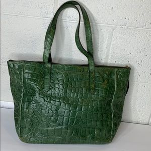 Fossil genuine leather croc embossed tote bag